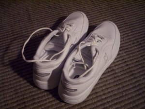 My new, long, thin white sneakers