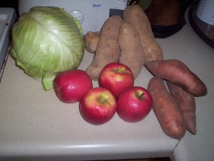 apples, potatoes, cabbage and organic sweet potatoes from the Dupont market