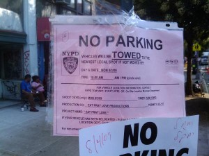 """No parking"" notice for ""Eat, Pray, Love"" production"