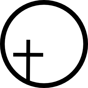 Off-center cross emblem