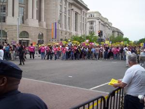 Front of the march, on Pennsylvania Avenue. Antis flanking
