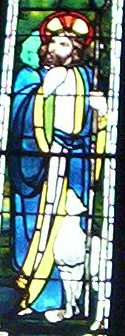 Jesus with sheep: a window at the Church of the Holy City